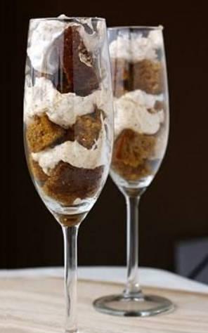 dessert in champagne glass