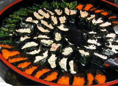 orange black and white dessert