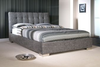 Upholstered monochrome bed