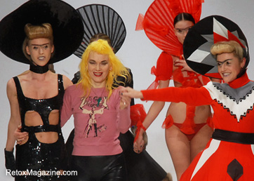Fashion Icon Pam Hogg with Catwalk Models - AW12 Catwalk at Vaxhall Fashion Scout, London Fashion Week