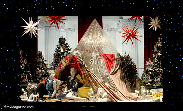 A Christmas camp-site in a Selfridges window