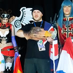 MCM Expo London Comic Con - Eurocosplay 2011 Finals - winner Niel Lockwood, runners-up Ronald Boom, Estela Espinosa